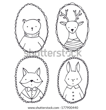 Animals portraits - vector outlines illustration - stock vector