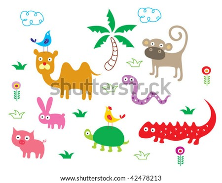 animals poster - stock vector