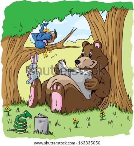 Animals reading  - stock vector