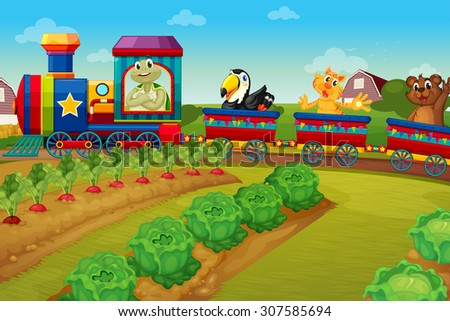 Animals riding on train by the farm illustration - stock vector