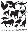 animals silhouette - stock vector