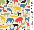 Animals silhouette seamless pattern. Vector texture in retro style. - stock vector