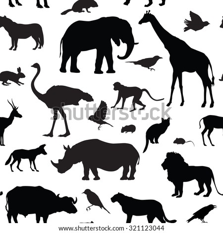 Animals silhouette seamless pattern. Wildlife tiled textured background. African animals seamless pattern  - stock vector