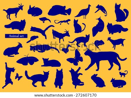 Animals silhouettes design color - stock vector