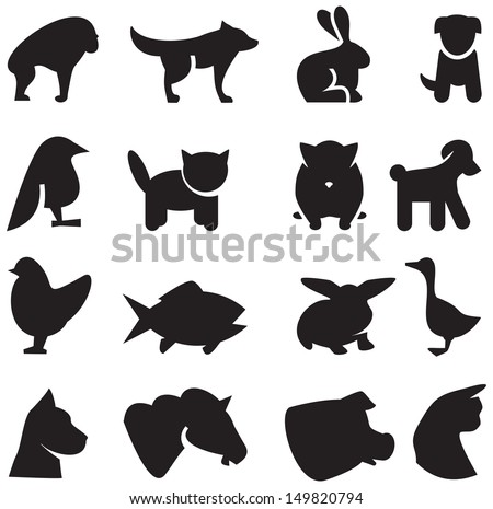 Animals silhouettes icons - stock vector