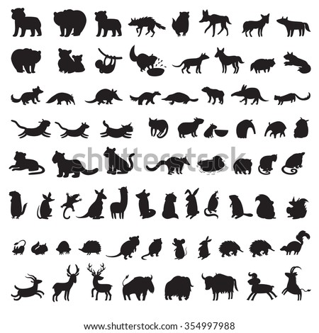 Animals silhouettes vector. Mammals of the world. Extra big set of animals gray silhouettes. Animals silhouettes icon. Mammals contour vector. Vector illustration, isolated on a white background