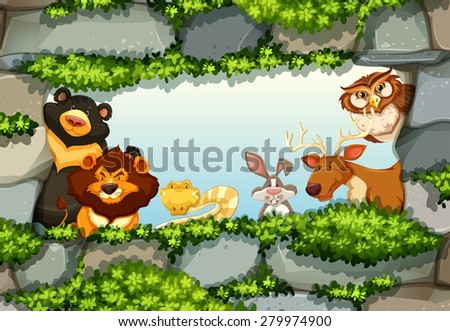 Animals standing in a frame of rocks and green leaves