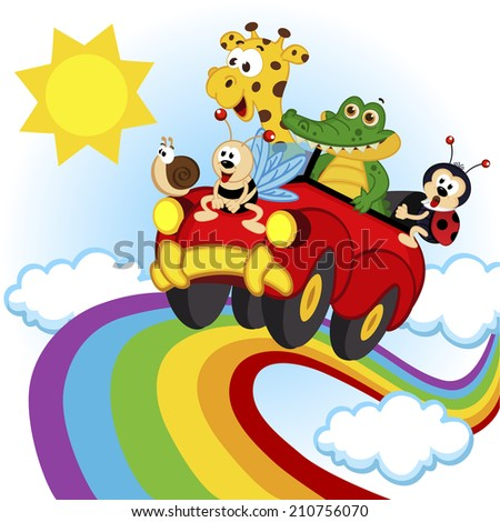 animals traveling by car over the rainbow - vector illustration, eps - stock vector