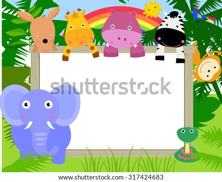 Animals with a banner