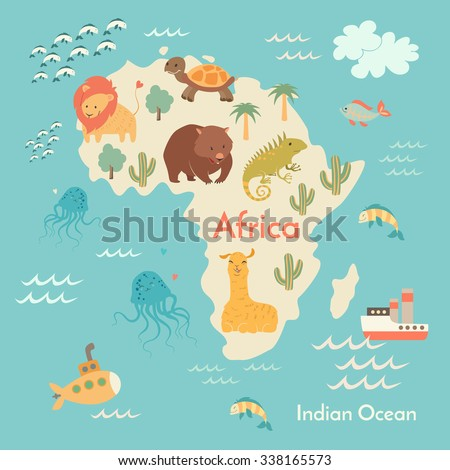 Animals world map africa africa map stock vector hd royalty free animals world map africa africa map for childrenkids african animals poster gumiabroncs Image collections