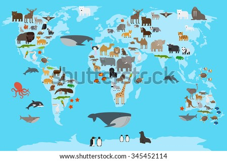 Animals world map. Animals living in different parts of the planet guide. Vector illustration. - stock vector