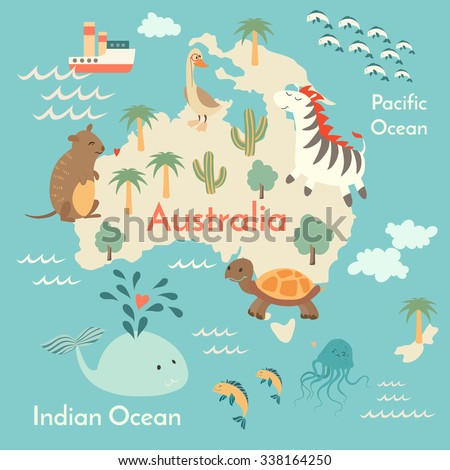 animals world map australiaaustralia map for childrenkids australian animals poster