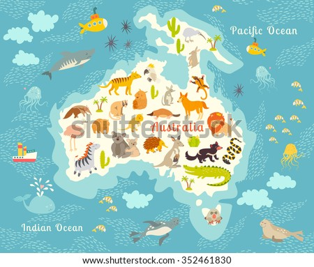 Animals world map, Australia. Australian animals poster. Australia map.Australia mammals cartoon style. Australia mammals.Vector illustration,preschool,baby, continents, oceans, drawn, education,Earth - stock vector
