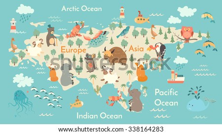 Animals world map eurasia eurasia map stock photo photo vector animals world map eurasia eurasia map for childrenkids eurasian animals poster gumiabroncs Choice Image