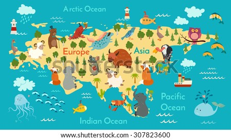 Animals world map, Eurasia. Vector illustration, preschool, baby, continents, oceans, drawn, Earth. - stock vector