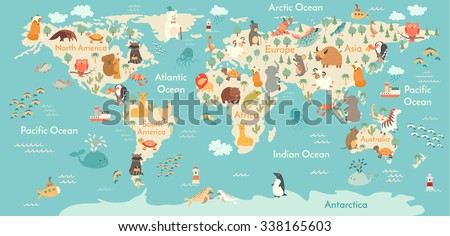 Animals world map children kids animals vector de stock338165603 animals world map for children kids animals poster continent animals sea life gumiabroncs Choice Image