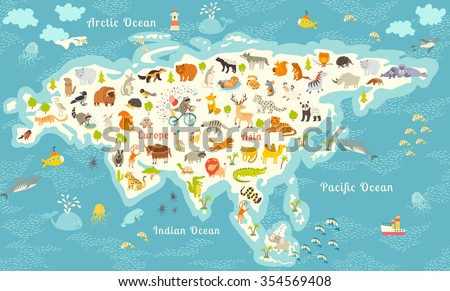 Animals world map north america colorful stock illustration animals world map north america colorful vector illustration for children and kidsrth gumiabroncs Choice Image