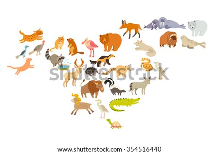 Animals world map, North America.North America mammal vector silhouettes.Map with animals.Isolated on white background illustration.Colorful cartoon illustration for children,kids.Education,travelling - stock vector