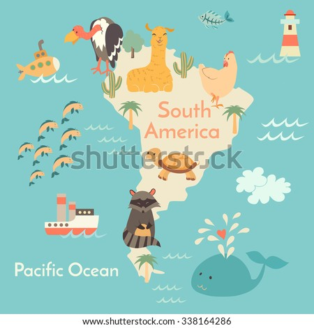 Animals world map south america south stock vector 338164286 animals world map south america south america map for childrenkids south gumiabroncs Image collections