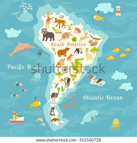 Animals world map, South America. South American animals poster.South America mammals cartoon style.South America mammals.Vector illustration,preschool,baby, continents, oceans, drawn, education,Earth - stock vector
