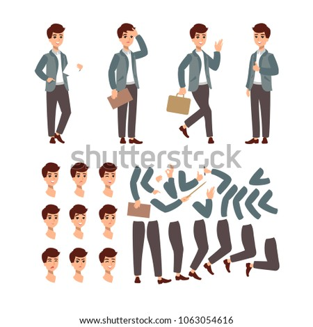 animate businessman character set animate character stock vector