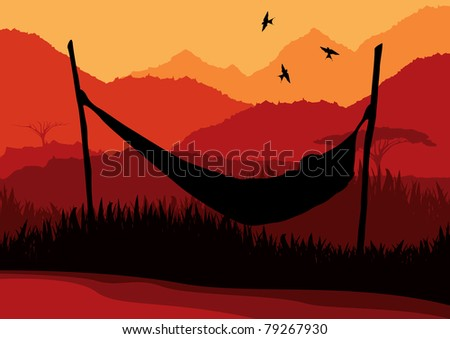 Animated african lying on a hammock in wild nature landscape illustration - stock vector