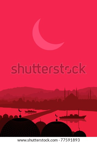 Animated magic solar eclipse over Turkish city Istanbul landscape illustration - stock vector