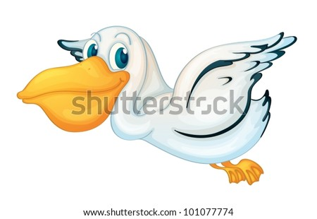 Animated pelican on white background - stock vector
