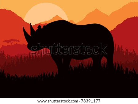 Animated rhino in wild nature landscape illustration - stock vector