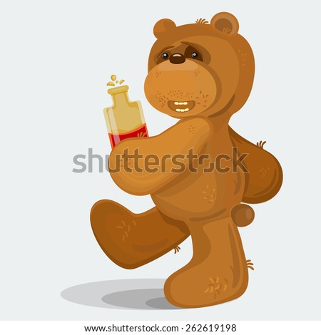 animated teddy bear walking with bottle of scotch in his hands