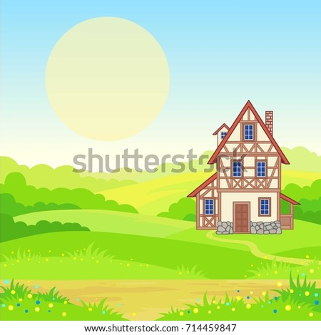 Animation background - the ancient house, the blossoming meadows. The place for the text. Vector illustration.