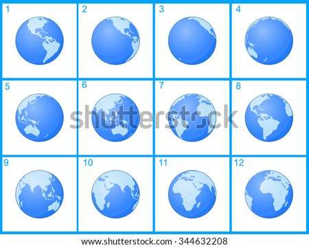 Animation Globe rotating around an axis - stock vector