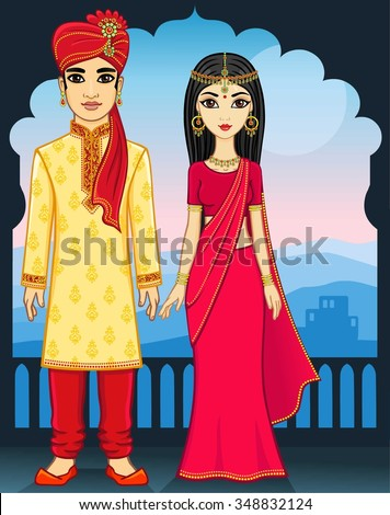 Animation Indian family. - stock vector
