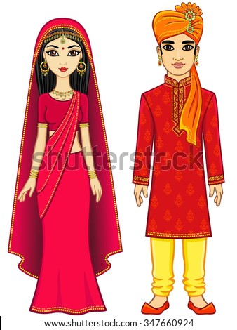 Animation Indian family. Full growth. Isolated on a white background. - stock vector