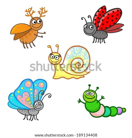 animation insects isolated on a white background
