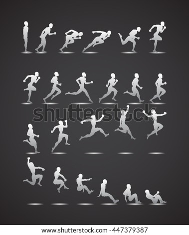 Animation Light Athletics Summer Games white silhouette black background Icon Set.