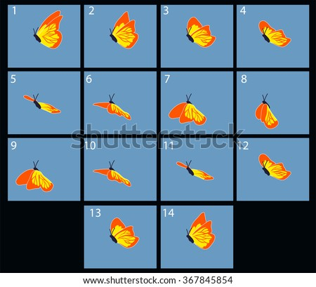 Animation of flaing butterfly. Cartoon explosion frames - stock vector