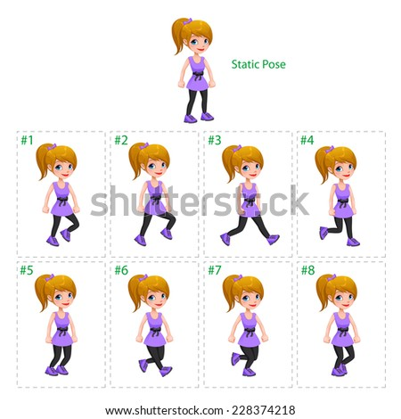 Animation of girl walking. Eight walking frames + 1 static pose. Vector cartoon isolated character/frames. - stock vector