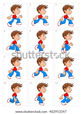 Animation of running boy, twelve frames