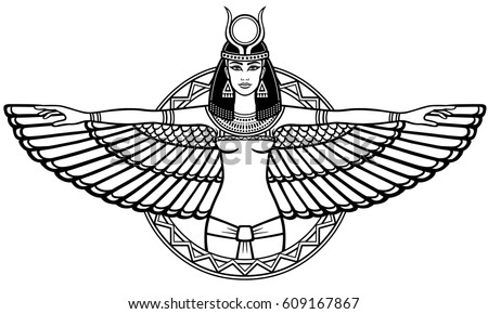 Animation Portrait Of The Ancient Egyptian Winged Goddess Linear Drawing Isolated On A White