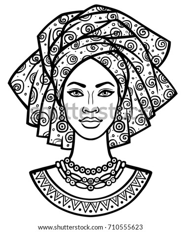 Animation Portrait Young African Woman Turban 710555623