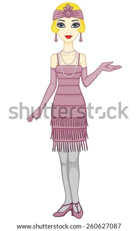 Animation  retro woman in a dress of 1920s. Full growth. Isolated on a white background.