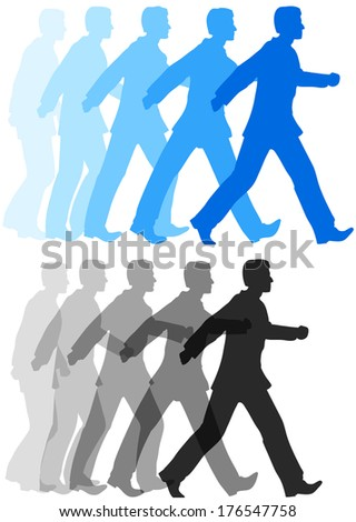 Animation style sequence of business person starting to walk confidently forward - stock vector
