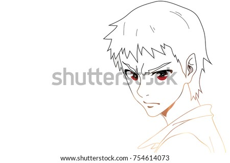 Anime eyes anime face with red eyes on white background for cartoon vector illustration