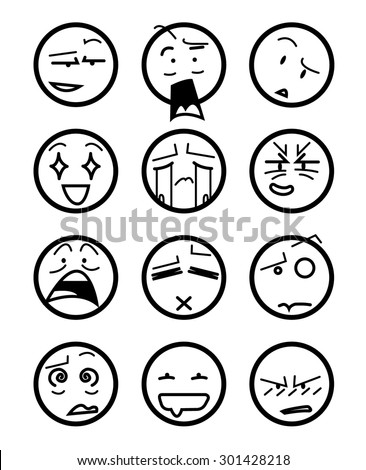 Anime icons expressions - stock vector