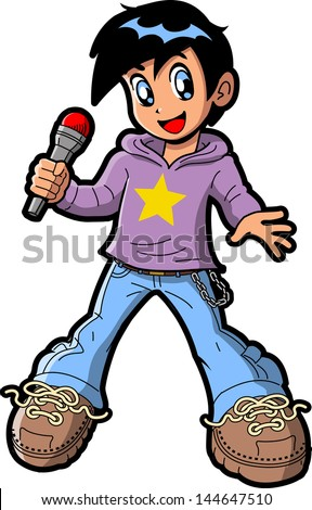 Anime Manga Teen Boy Pop Star or Karaoke Singer - stock vector