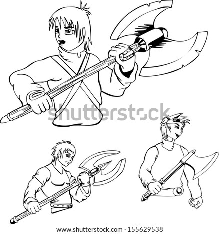 Anime warriors with poleaxe. Set of black and white outline vector illustrations.