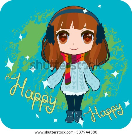 Anime winter girl card  - stock vector