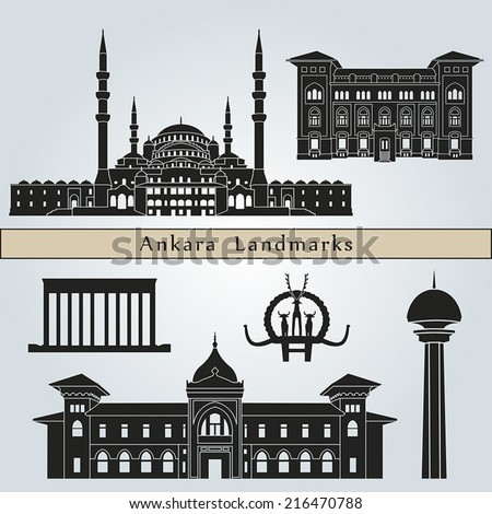 Ankara landmarks and monuments isolated on blue background in editable vector file - stock vector