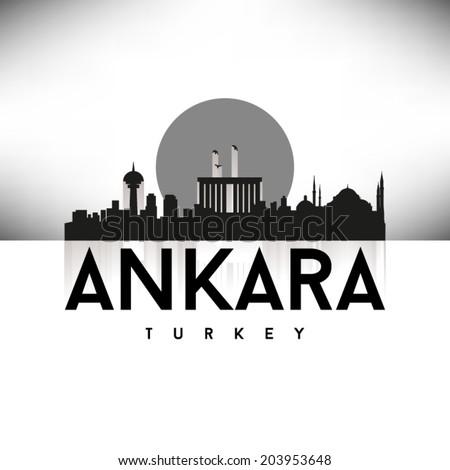 Ankara Turkey skyline silhouette Black and White design, vector illustration. - stock vector